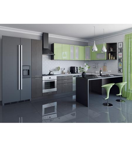 Кухня «Валерия-05»  Салатовый глянец/Венге
