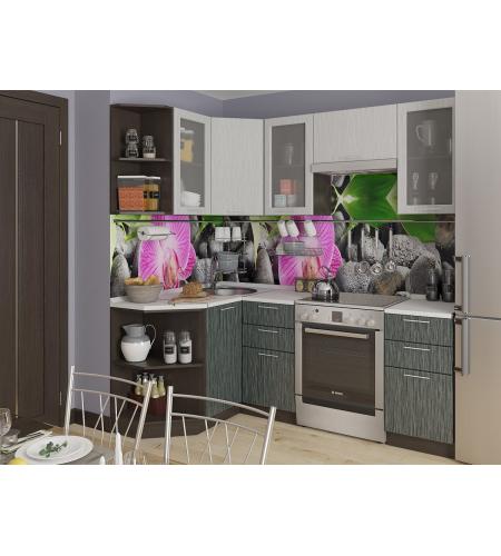 Кухня «Валерия-04»  Серый металлик дождь светлый/Черный металлик дождь