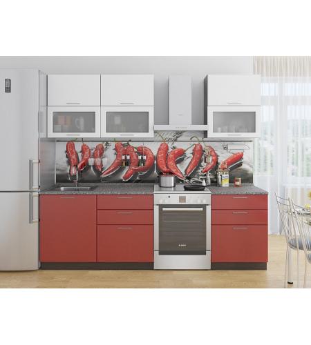 Кухня «Валерия-01»  Белый металлик/Гранатовый металлик
