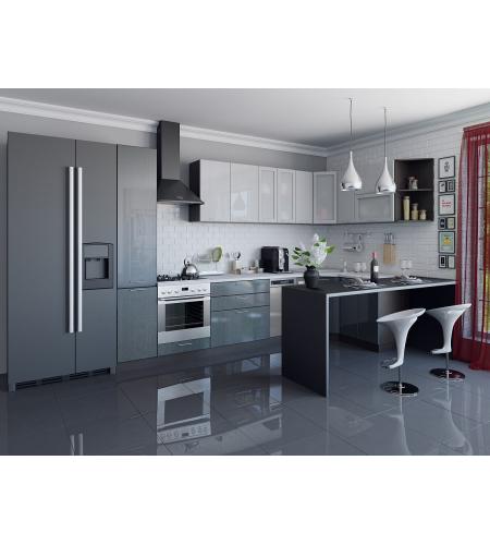 Кухня «Валерия-05»  Серый металлик дождь светлый/Черный металлик дождь