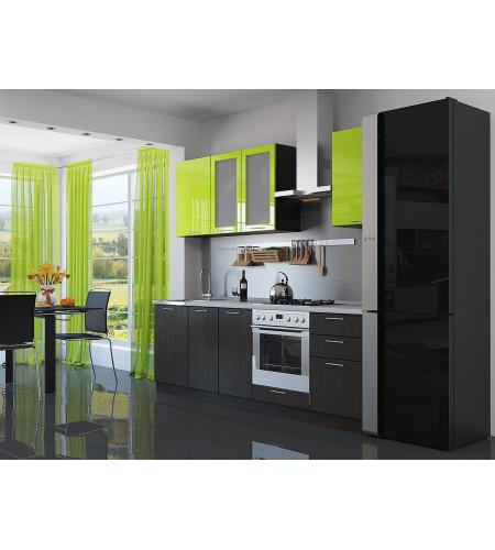 Кухня «Валерия-03»  Лайм глянец/Венге