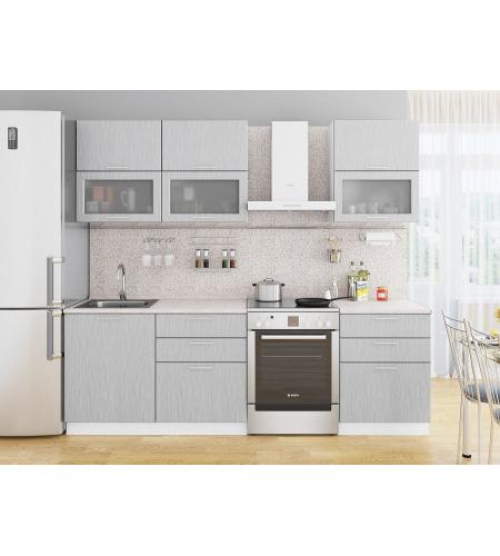 Кухня «Валерия-01»  Серый металлик дождь светлый