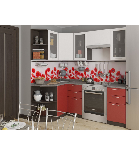Кухня «Валерия-04»  Белый металлик/Гранатовый металлик