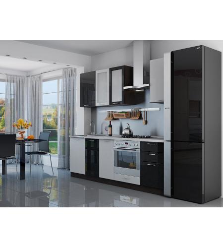 Кухня «Валерия-03»  Белый металлик/Черный металлик