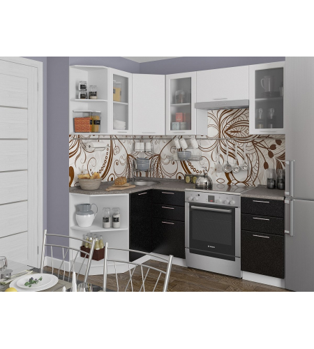 Кухня «Валерия-04»  Белый металлик/Черный металлик