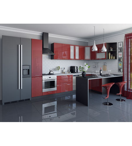 Кухня «Валерия-05»  Гранатовый металлик