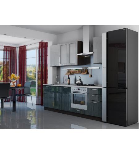 Кухня «Валерия-03»  Серый металлик дождь светлый/Черный металлик дождь