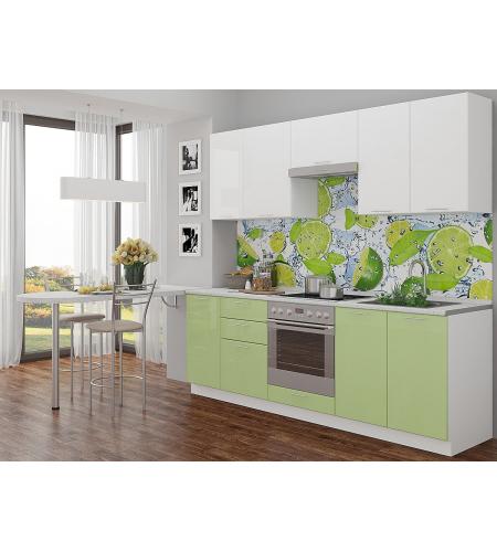 Кухня «Валерия-02»  Белый глянец/Салатовый глянец
