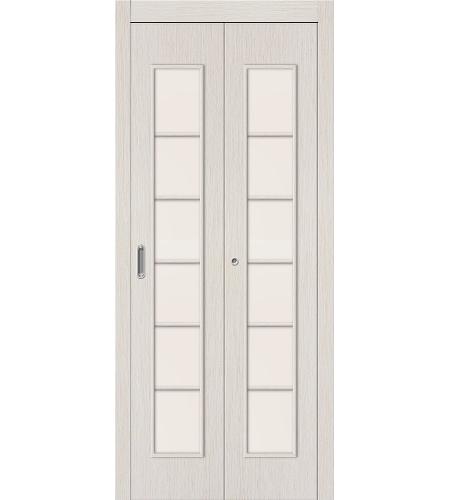 Дверь складная межкомнатная «2С» БелДуб остекление Сатинато белое