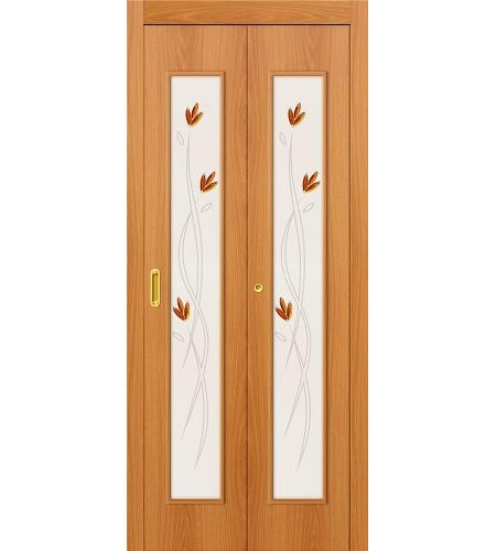 Дверь складная межкомнатная «22Х» МиланОрех остекление белое с элементами фьюзинга