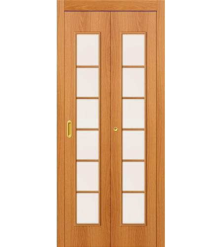 Дверь складная межкомнатная «2С» МиланОрех остекление Сатинато белое