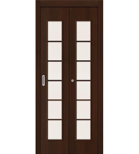 Дверь складная межкомнатная «2С» Венге остекление Сатинато белое