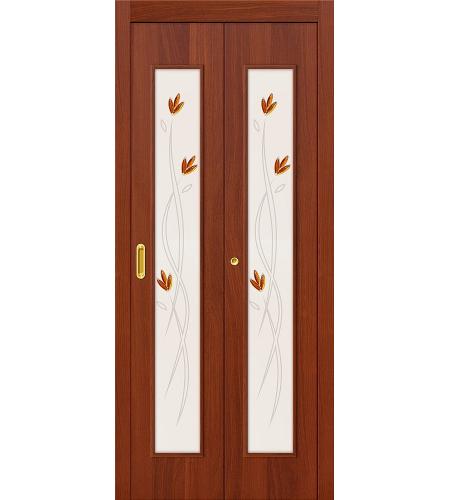 Дверь складная межкомнатная «22Х» ИталОрех остекление белое с элементами фьюзинга