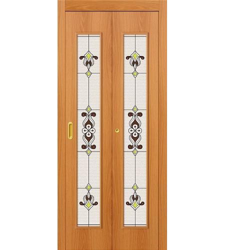 Дверь складная межкомнатная «23Х» МиланОрех остекление Сатинато белое