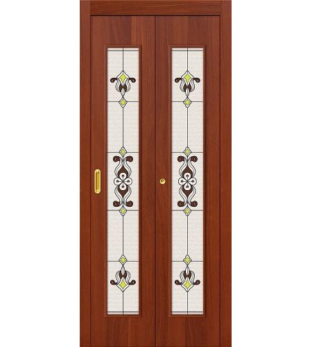 Дверь складная межкомнатная «23Х» ИталОрех остекление Сатинато белое