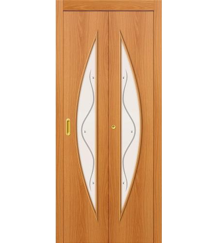 Дверь складная межкомнатная «5Ф» МиланОрех остекление белое с элементами фьюзинга