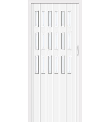 Дверь складная межкомнатная «Дилсон-018» Белый глянец