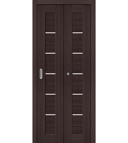 Дверь складная межкомнатная «Порта-22» Wenge Veralinga остекленная