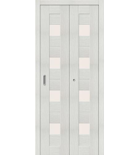 Дверь складная межкомнатная «Порта-23» Bianco Veralinga остекленная