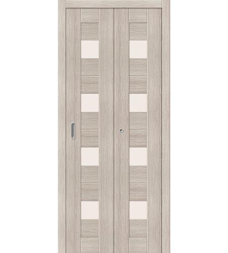 Дверь складная межкомнатная «Порта-23» Cappuccino Veralinga остекленная