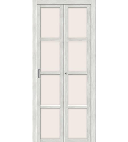 Дверь складная межкомнатная «Твигги V4» Bianco Veralinga остекление белое сатинированное