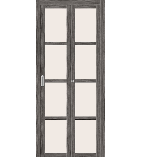 Дверь складная межкомнатная «Твигги V4» Grey Veralinga остекление белое сатинированное