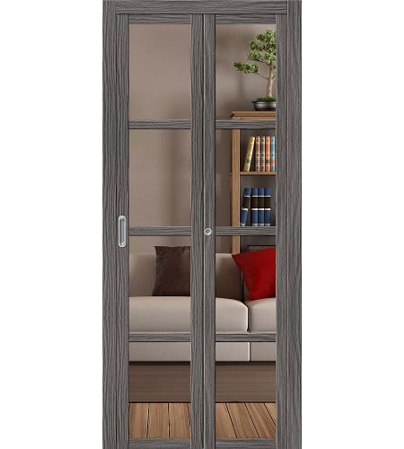 Дверь складная межкомнатная «Твигги V4 Crystalline» Grey Veralinga остекление Crystalline просветленное