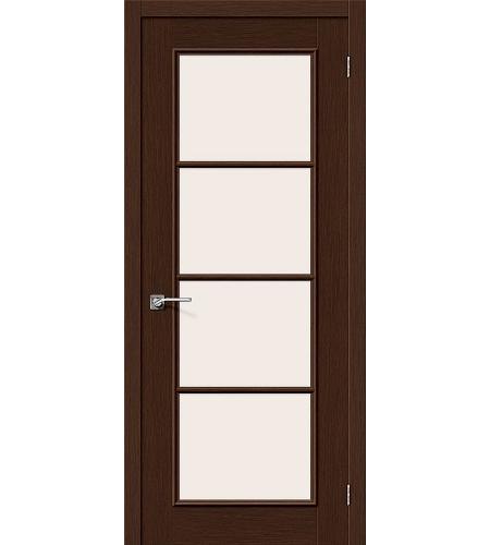 Дверь межкомнатная шпонированная (Шпон файн-лайн) «Евро-41» Венге остекление Сатинато белое