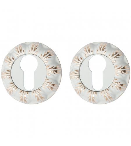 Накладка цилиндровая на круглой розетке для межкомнатной  двери «A/Z-3CL» БелЭмаль/Золото