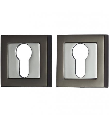 Накладка цилиндровая на квадратной розетке для межкомнатной  двери «A/Z-2CL» Черный никель/Хром