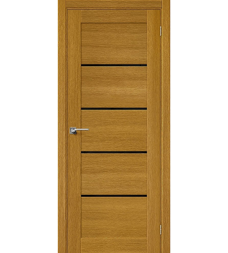 Дверь межкомнатная шпонированная «Модерн-22» Natur Oak остекление черный Лакобель