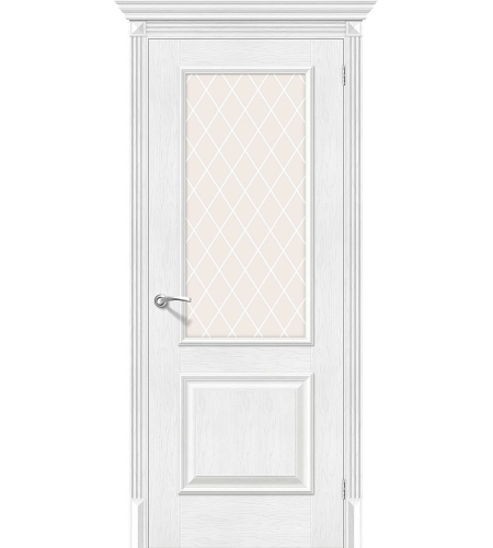 Дверь межкомнатная из эко шпона «Классико-13»  Royal Oak остекление художественное сатинато