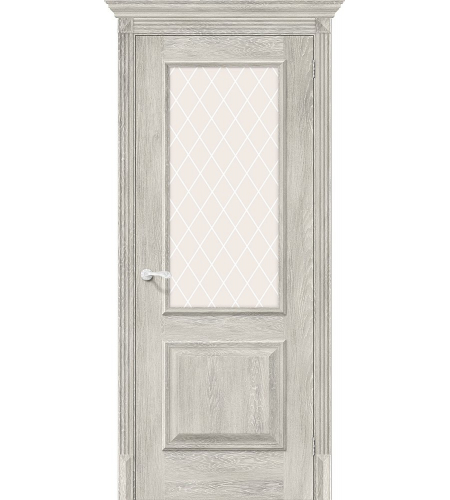 Дверь межкомнатная из эко шпона «Классико-13»  Chalet Provence остекление художественное сатинато