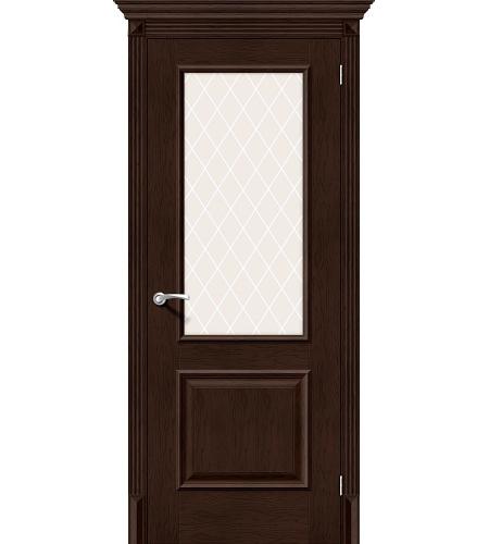 Дверь межкомнатная из эко шпона «Классико-13»  Antique Oak остекление художественное сатинато