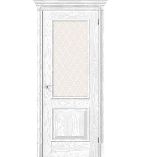 Дверь межкомнатная из эко шпона «Классико-13»  Silver Ash остекление художественное сатинато