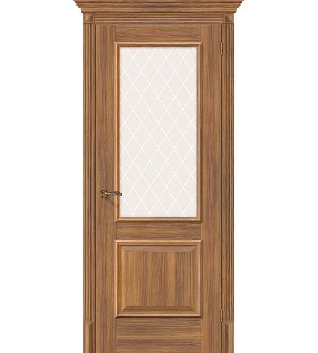 Дверь межкомнатная из эко шпона «Классико-13»  Golden Reef остекление художественное сатинато