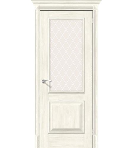 Дверь межкомнатная из эко шпона «Классико-13»  Nordic Oak остекление художественное сатинато