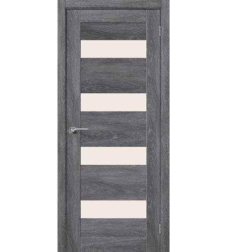 Дверь межкомнатная из эко шпона «Легно-23»  Chalet Grasse остекление Сатинато белое