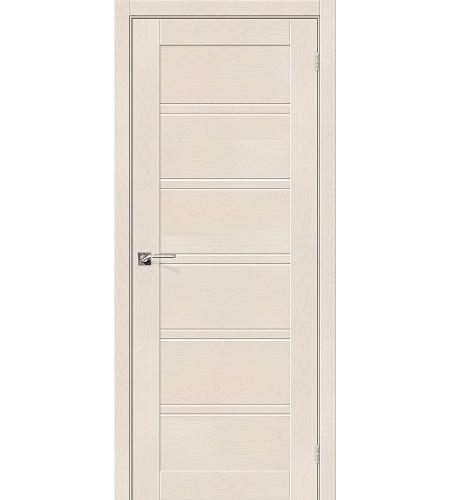 Дверь межкомнатная из эко шпона «Легно-28»  Cappuccino Softwood остекление Сатинато белое