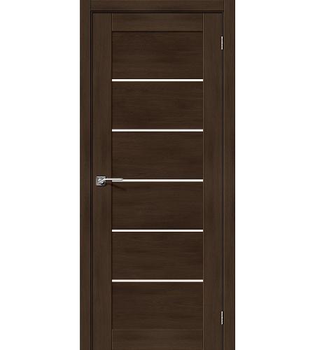 Дверь межкомнатная из эко шпона «Легно-22»  Dark Oak остекление Сатинато белое