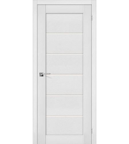 Дверь межкомнатная из эко шпона «Легно-22»  Virgin остекление Сатинато белое