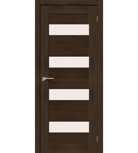 Дверь межкомнатная из эко шпона «Легно-23»  Dark Oak остекление Сатинато белое