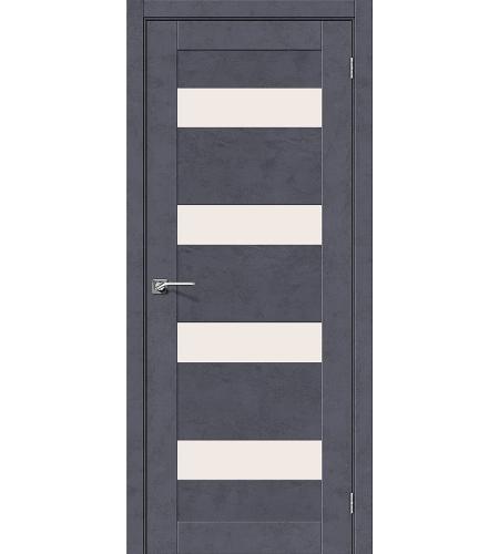 Дверь межкомнатная из эко шпона «Легно-23»  Graphite Art остекление Сатинато белое
