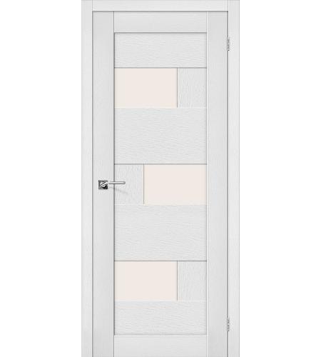 Дверь межкомнатная из эко шпона «Легно-39»  Virgin остекление Сатинато белое