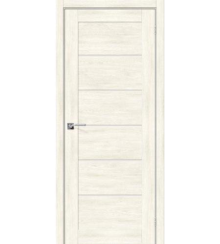 Дверь межкомнатная из эко шпона «Легно-22»  Nordic Oak остекление Сатинато белое