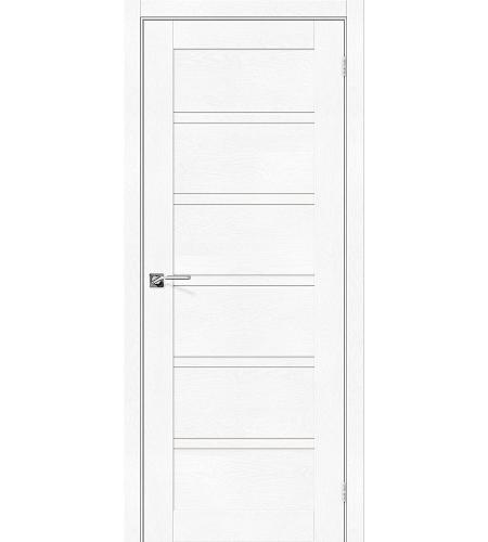 Дверь межкомнатная из эко шпона «Легно-28»  White Softwood остекление Сатинато белое