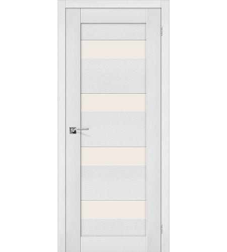 Дверь межкомнатная из эко шпона «Легно-23»  Virgin остекление Сатинато белое