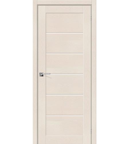 Дверь межкомнатная из эко шпона «Легно-22»  Cappuccino Softwood остекление Сатинато белое