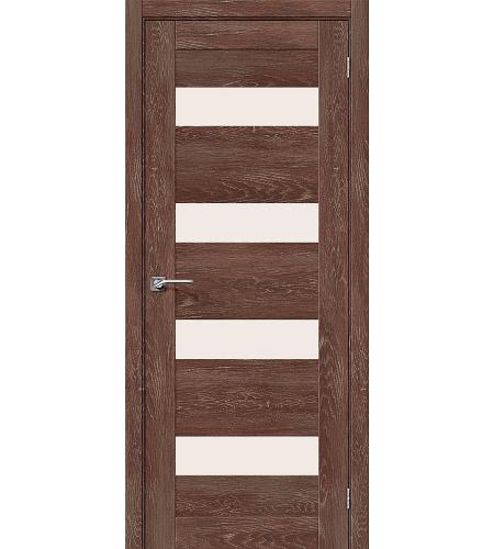 Дверь межкомнатная из эко шпона «Легно-23»  Chalet Grande остекление Сатинато белое