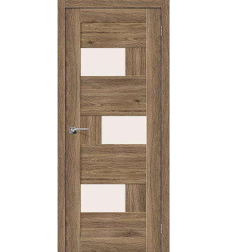 Дверь межкомнатная из эко шпона «Легно-39»  Original Oak остекление Сатинато белое